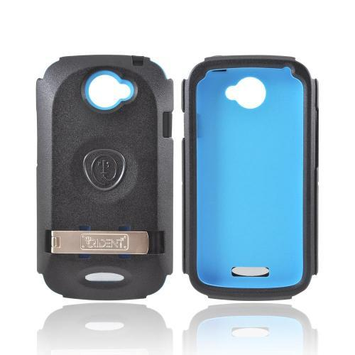 OEM Trident Kraken AMS HTC One S Hard Case Over Silicone w/ Screen Protector, Kickstand, & Belt Clip - Blue/ Black