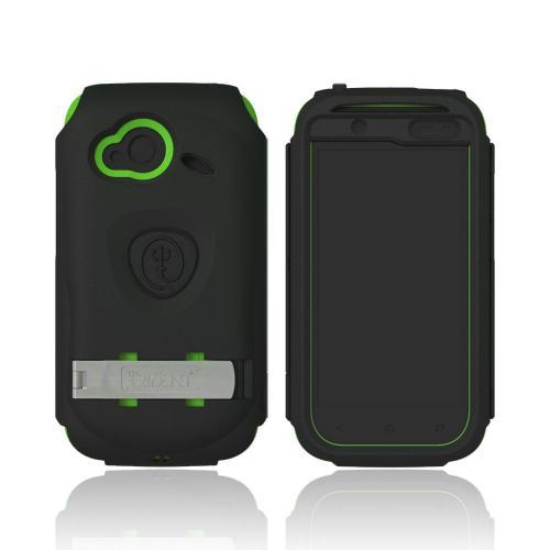 OEM Trident Kraken AMS HTC Droid Incredible 4G LTE Hard Case Over Silicone w/ Screen Protector, Kickstand & Belt Clip - Black/ Green