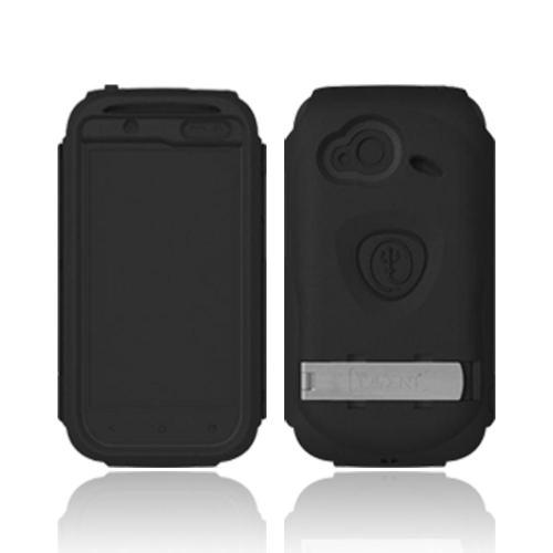 OEM Trident Kraken AMS HTC Droid Incredible 4G LTE Hard Case Over Silicone w/ Screen Protector, Kickstand & Belt Clip - Black