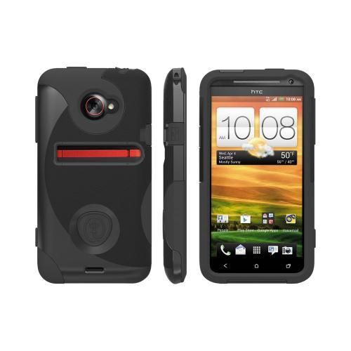 OEM Trident Aegis HTC EVO 4G LTE Hard Case Over Silicone w/ Screen Protector - Black