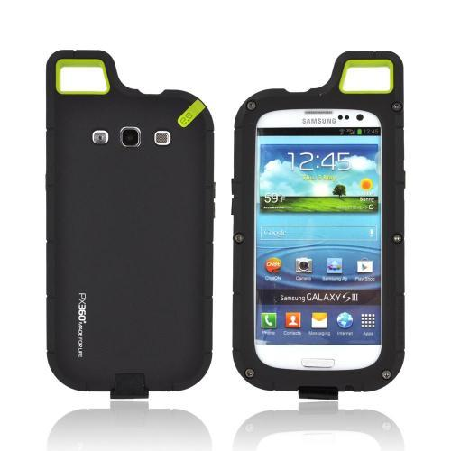 OEM PureGear Samsung Galaxy S3 PX360 Rubberized Hard Impact Case w/ Utility Tool, Carabiner & Screen Protector - Black/ Lime Green