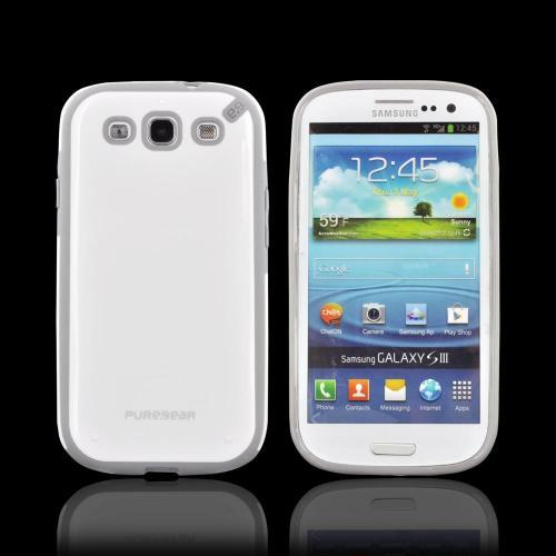 OEM PureGear Samsung Galaxy S3 Slim Shell Hybrid Hard Case, 02-001-01758 - White/ Gray