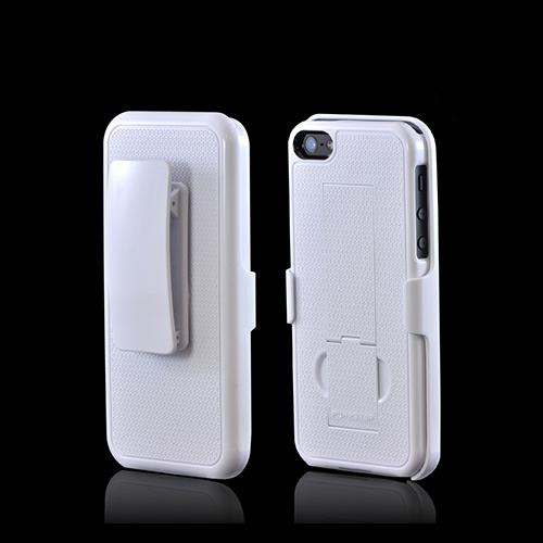 PureGear White Apple iPhone 5/5S Rubberized Hard Kickstand Case w/ Holster - 02-001-01859