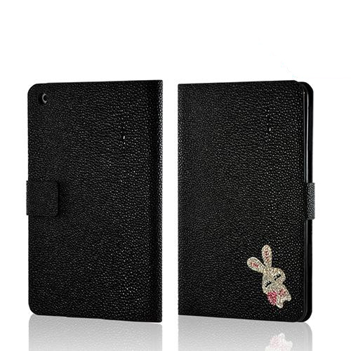 Black w/ Silver Gem Bunny Faux Leather Diary Flip Case w/ Pebbled Texture & ID Slots for Apple iPad Mini