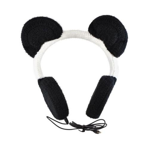OEM iHip Crochet Creatures Universal Headphones (3.5mm), IP-CROC-PANDA - Black/ White Panda Ears