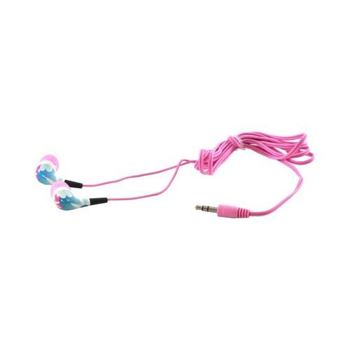 OEM iHip Urban Earplugz Universal Earbud Stereo Headset (3.5mm), IP-URBAN-FLIP - Blue/ Pink Flowers