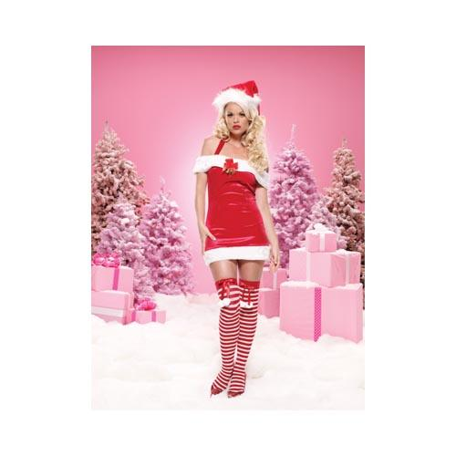 LegAvenue Costume Holiday Collection Jingle Bell Baby Halter, Off the Shoulder Mini Dress w, Plush Trim - Red, White 83464