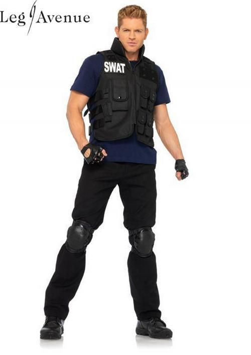 4PC LegAvenue Costume Men's SWAT Commander Utility Vest, Shirt, Knee Pads, & Fingerless Gloves - Only Size Only 83682