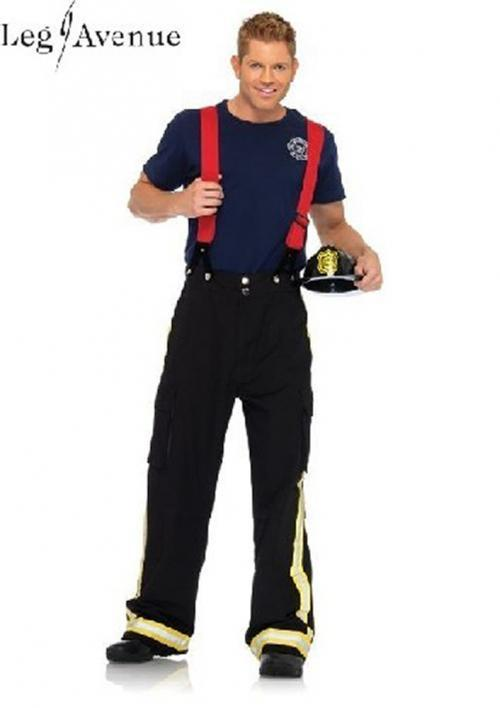 3PC LegAvenue Costume Men's Fire Captain Pants w, Reflective Trim, T-Shirt, & oversized Suspenders 83684