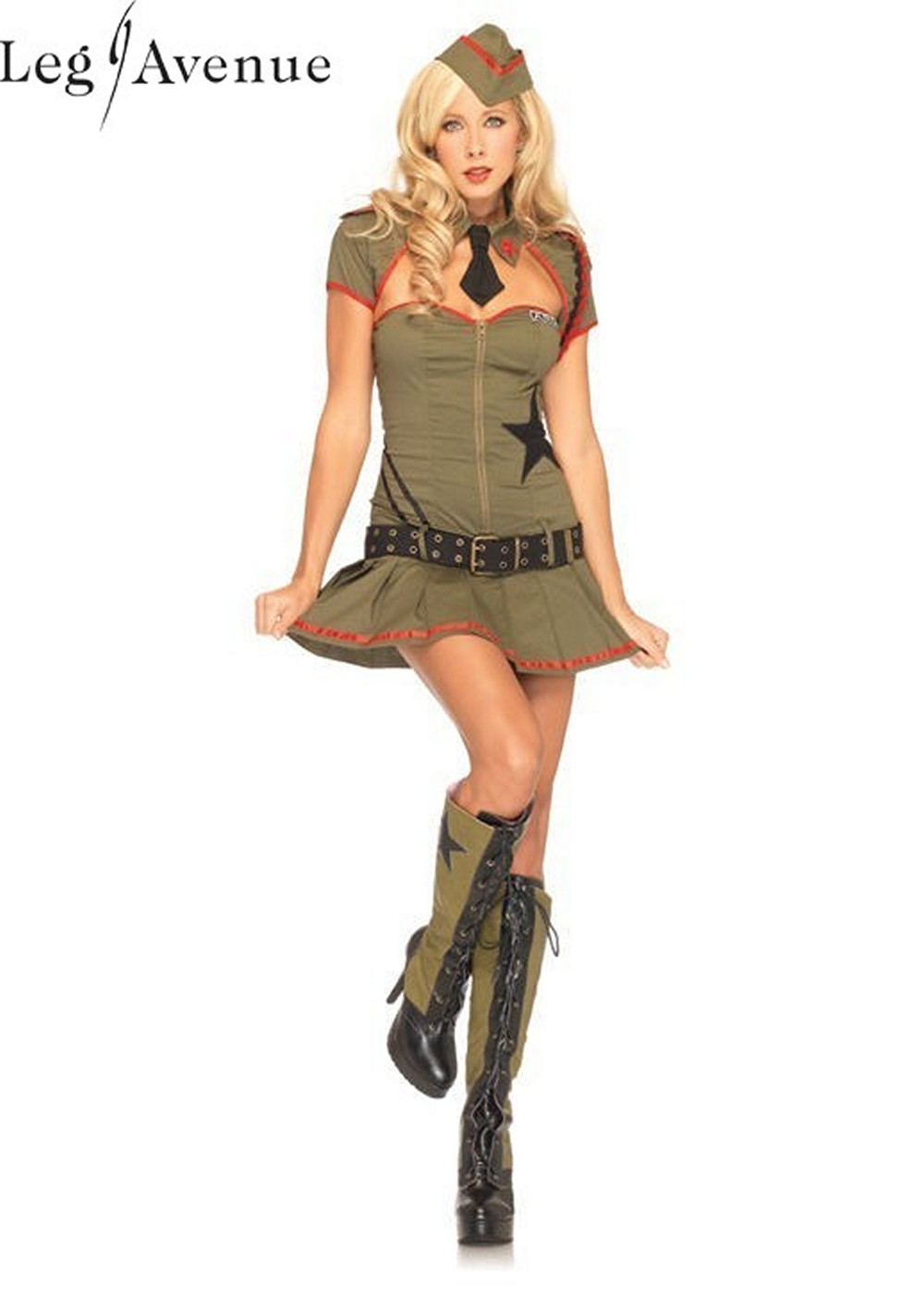 4PC LegAvenue Costume Private Pin Up Zipper Front Dress w, Clear Straps, Shrug w, Attached Tie, Belt, & Hat 83696