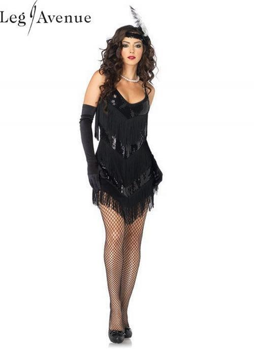 LegAvenue Costume Roaring 20's Honey, Sequin Fringe Dress w, Low Back & Matching Headband 83800