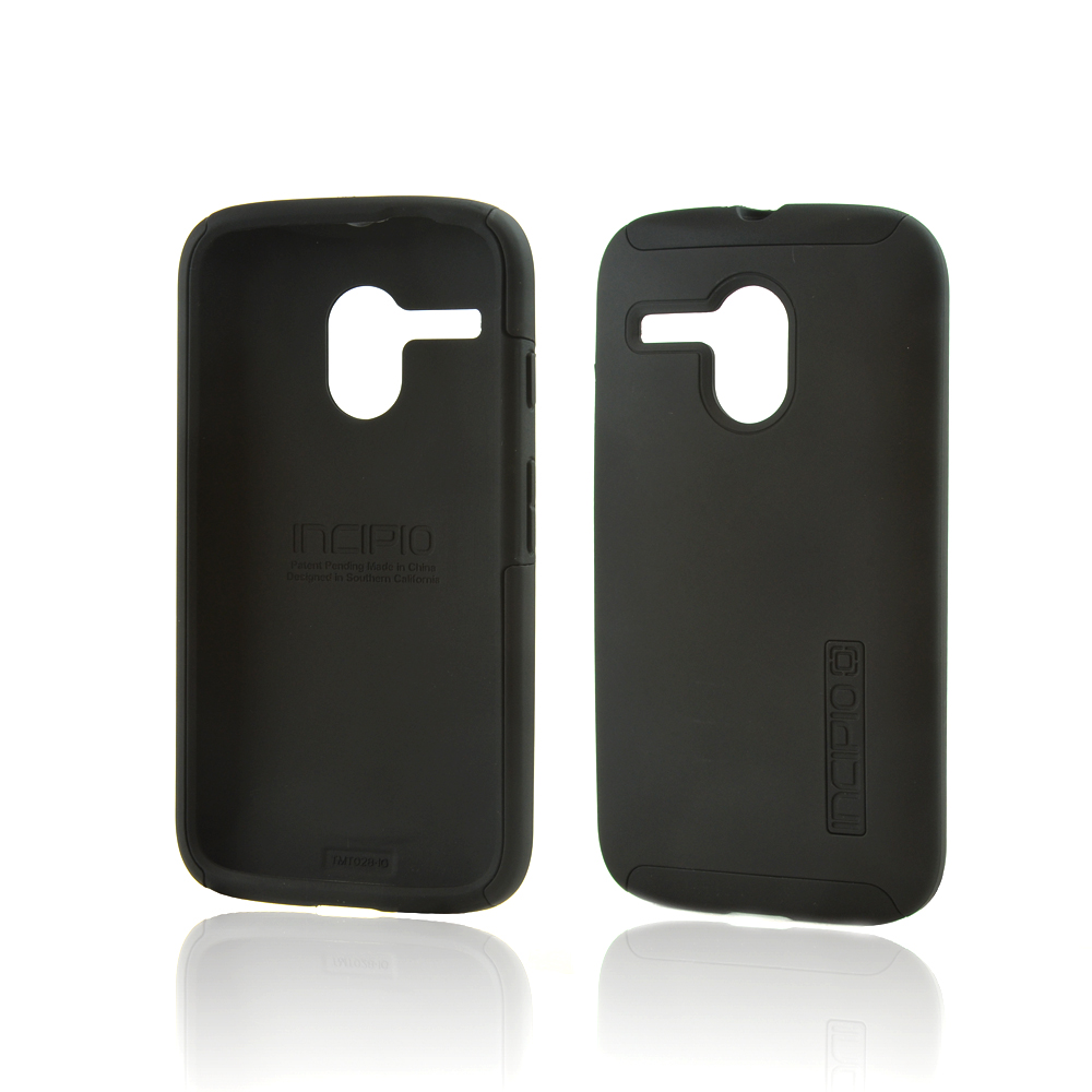 Incipio Black Dual PRO Series Rubberized Hard Case on Black Silicone Skin for Motorola Moto G - MT-335-BLK