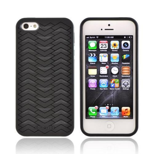 Odoyo Shark Skin Collection Apple iPhone 5/5S Anti-Slip Hard Case w/ Screen Protector - Black