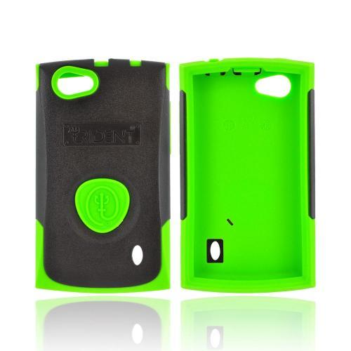 OEM Trident Aegis LG Optimus M+ Hard Cover Over Silicone Case w/ Screen Protector - Green/ Black