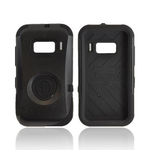 OEM Trident Aegis Alcatel One Touch 918 Hard Cover Over Silicone Case w/ Screen Protector - Black
