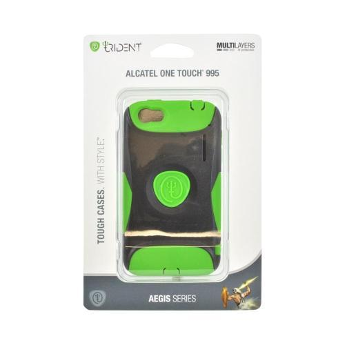 OEM Trident Aegis Alcatel One Touch 995 Hard Cover Over Silicone Case w/ Screen Protector - Green/ Black