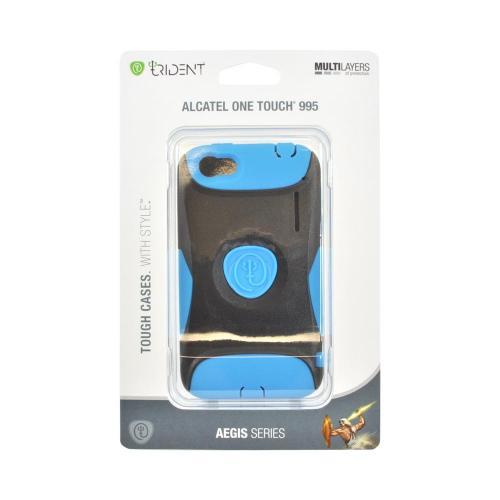 OEM Trident Aegis Alcatel One Touch 995 Hard Cover Over Silicone Case w/ Screen Protector - Blue/ Black
