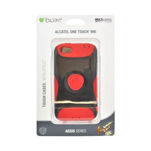 OEM Trident Aegis Alcatel One Touch 995 Hard Cover Over Silicone Case w/ Screen Protector - Red/ Black