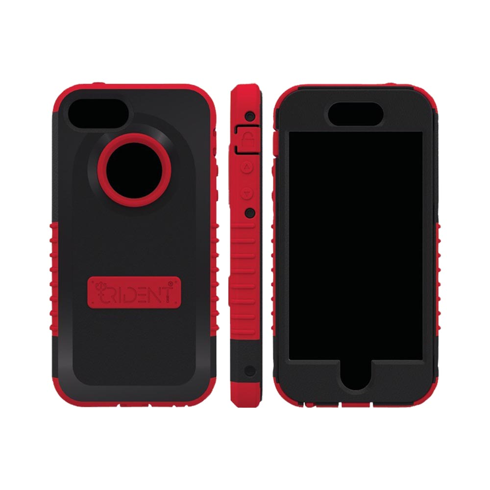 OEM Trident Cyclops Apple iPhone 5 Anti-Skid Hard Cover Over Silicone Case w/ Built-In Screen Protector - Red/ Black
