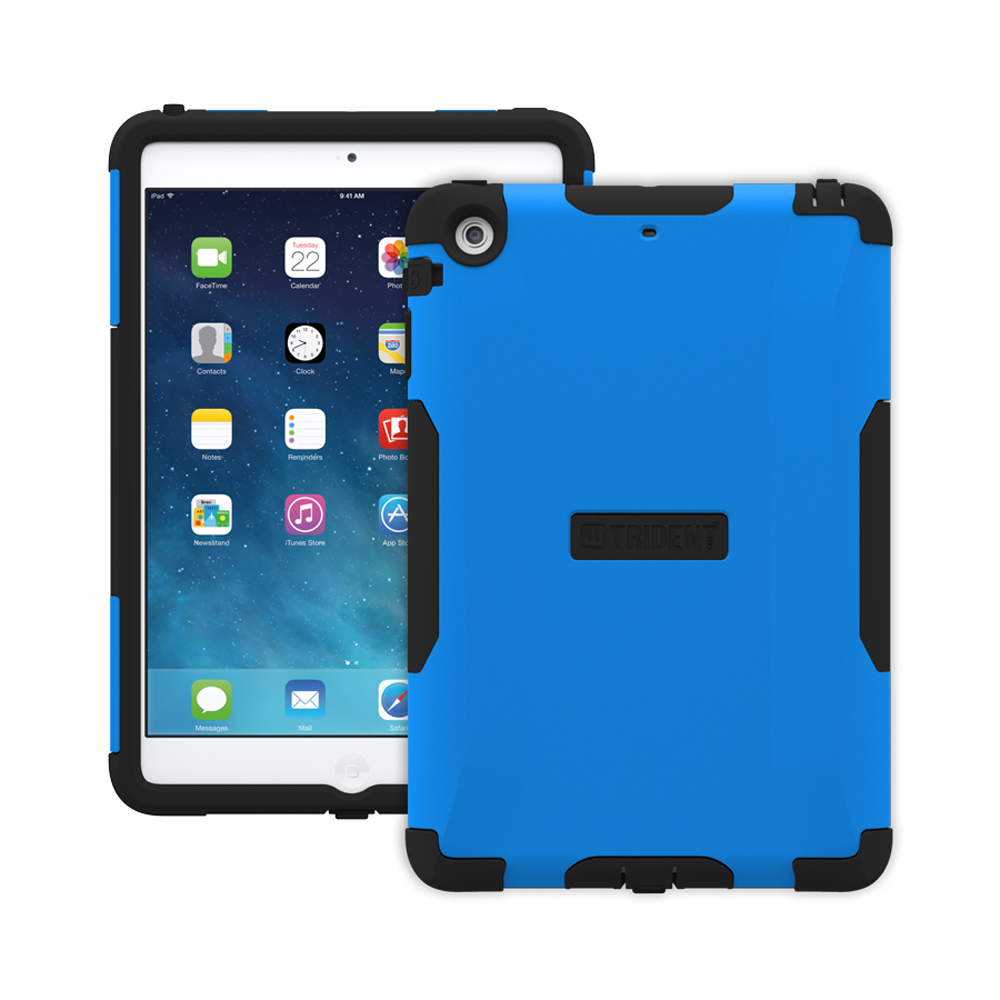 Trident Blue/ Black Aegis Series Hard Case on Silicone w/ Screen Protector for Apple iPad Mini