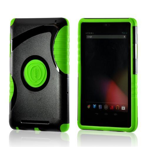 Trident Green/ Black Aegis Series Hard Case on Silicone w/ Screen Protector for Google Nexus 7