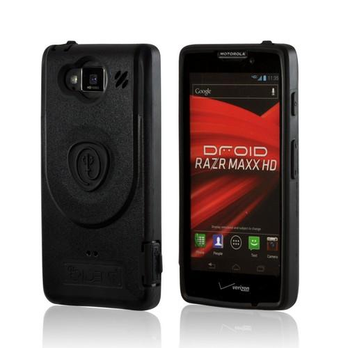 Black Trident Aegis Hard Cover Over Silicone Case w/Screen Protector for Motorola Droid RAZR MAXX HD