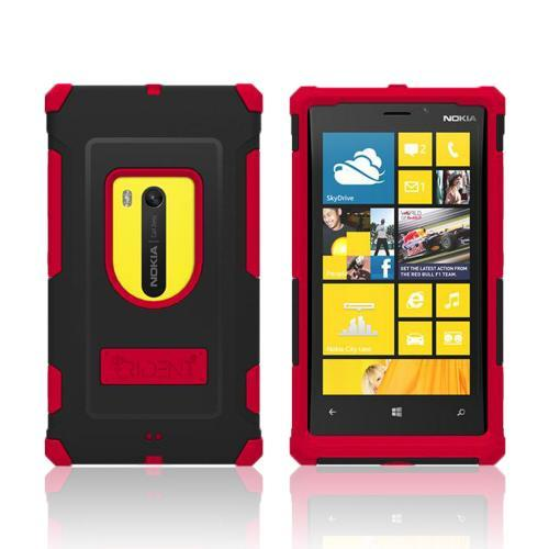 Trident Red/ Black Aegis Series Hard Cover on Silicone Case w/ Screen Protector for Nokia Lumia 920
