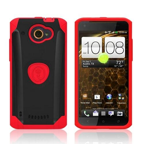 Trident Red/ Black Aegis Series Hard Case on Silicone w/ Screen Protector for HTC Droid DNA