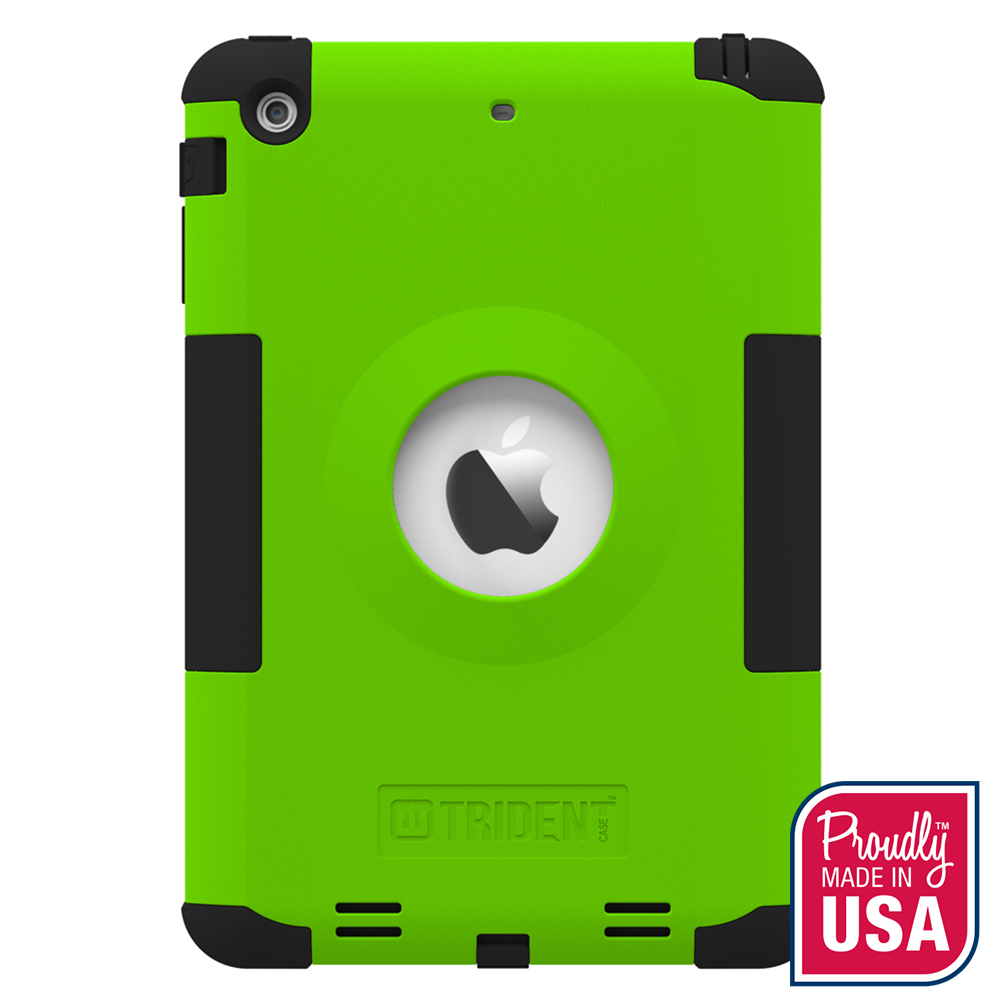 Trident Lime Green/ Black Kraken AMS Series Hard Cover on Silicone Skin Case w/ Built-In Screen Protector for Apple iPad Mini 2 - AMS-APL-IPADMINI2US-TG