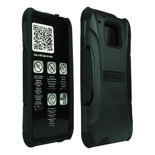 Trident Black Aegis Series Hard Cover on Silicone Case w/ Screen Protector for HTC One Mini - AG-HTC-M4-BK
