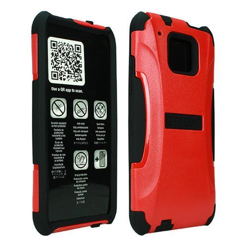 Trident Red/ Black Aegis Series Hard Cover on Silicone Case w/ Screen Protector for HTC One Mini - AG-HTC-M4-RED