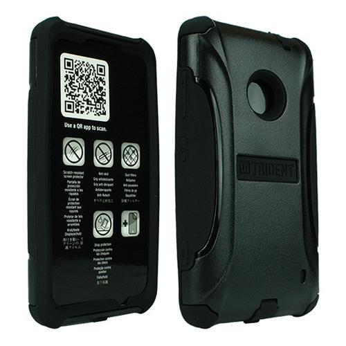 Trident Black Aegis Series Hard Cover on Silicone Case w/ Screen Protector for Nokia Lumia 521 - AG-NOK-LUMIA520-BK
