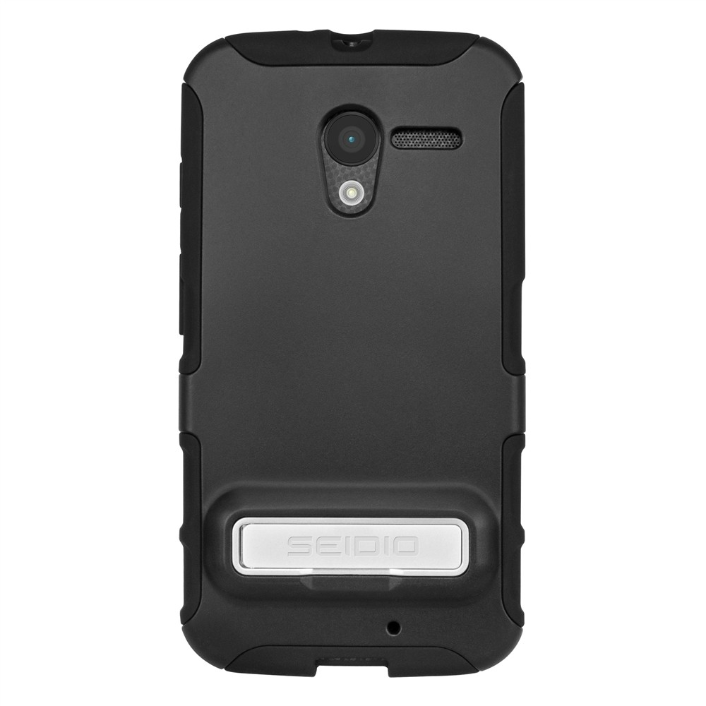 Seidio Black Active Series Rubberized Hard Cover Over Silicone w/ Metal Kickstand for Motorola Moto X - CSK3MTXPK-BK