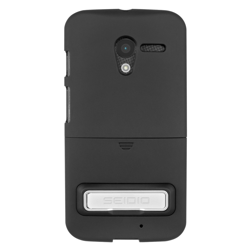 Seidio Black Surface Series Rubberized Slide-On Hard Case w/ Metal Kickstand for Motorola Moto X - CSR3MTXPK-BK