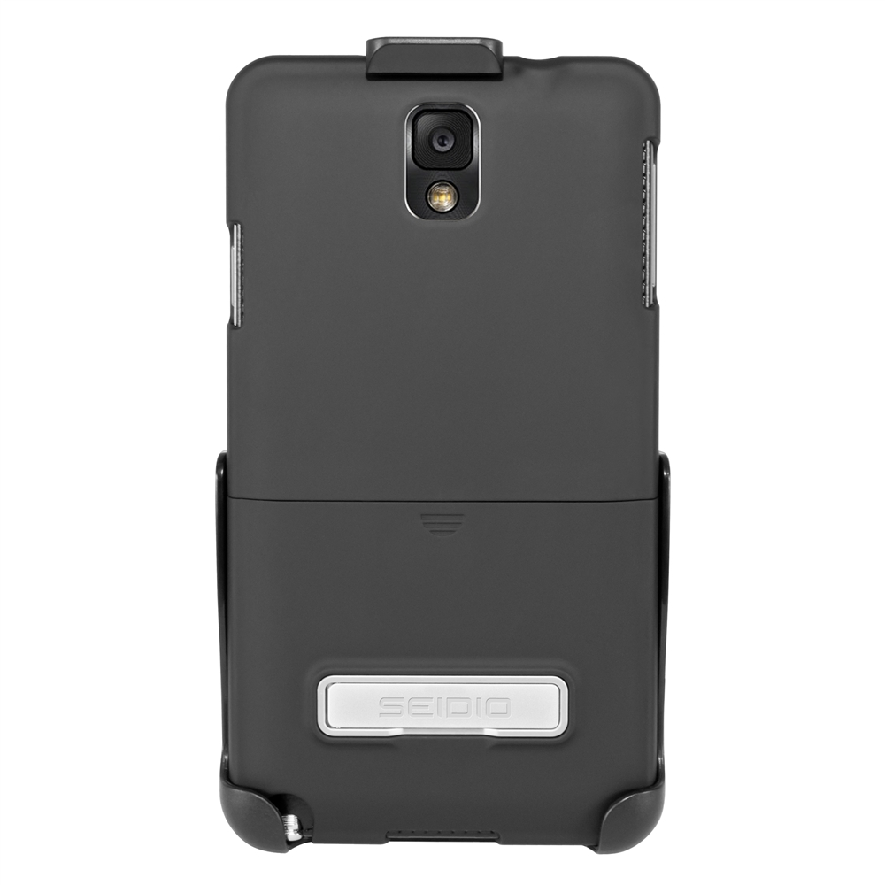 Seidio Black Surface Combo Series Rubberized Hard Cover Case w/ Metal Kickstand & Holster for Samsung Galaxy Note 3 - BD2-HR3SSGT3K-BK