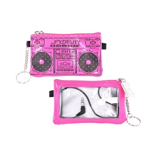 Original Fydelity Universal Le Boom Box Pocito Phone/ MP3 Case w/ Built-In Speaker (3.5mm), 87036 - Hot Pink/ Black