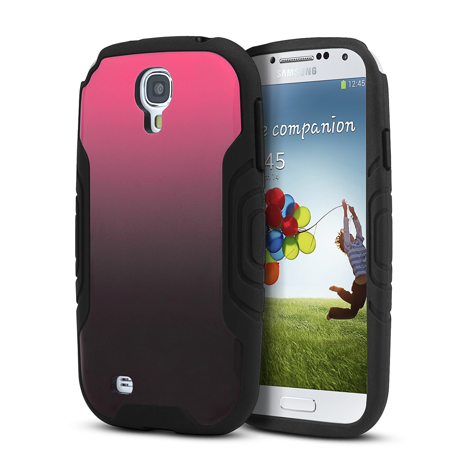 Heavy Duty Black Crystal Silicone Skin Case w/ Hot Pink to Black Fade Hard Back for Samsung Galaxy S4