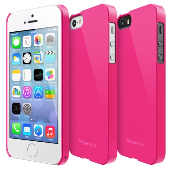 Rearth Hot Pink Ringke Slim Series Rubberized Hard Back Cover Case for Apple iPhone 5/5S