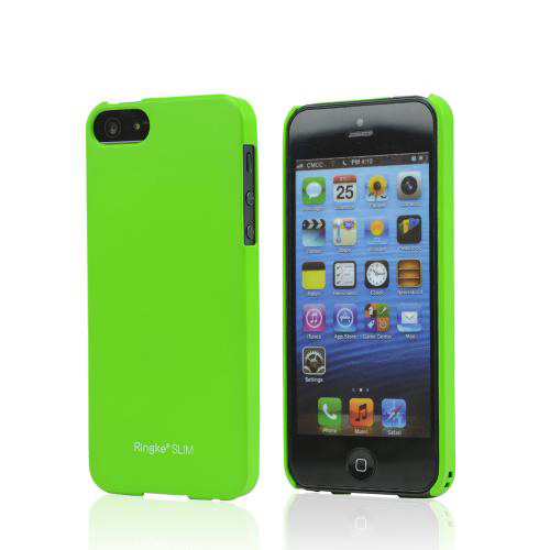 Rearth Neon Green Ringke Slim Rubberized Hard Back Cover Case for Apple iPhone 5/5S