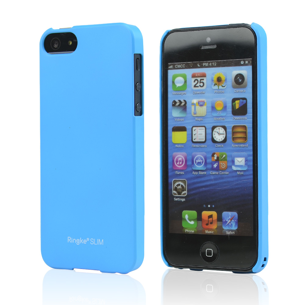 Rearth Blue Ringke Slim Rubberized Hard Back Cover Case for Apple iPhone 5/5S