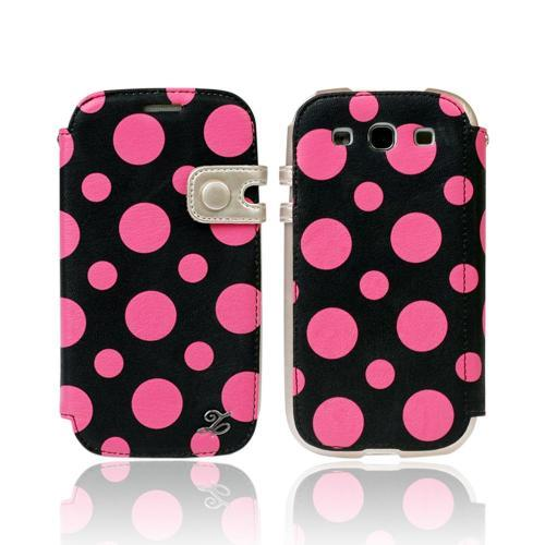 OEM Zenus Samsung Galaxy S3 Masstige Dot Color Point Leather Diary Case w/ ID Slots - Hot Pink/ Black Polka Dots