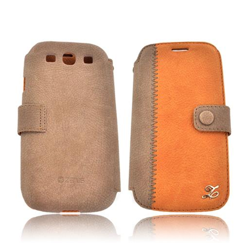 Zenus Samsung Galaxy S3 Leather E-Note Diary Case w/ ID Slots - Brown