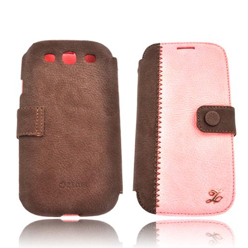 Zenus Samsung Galaxy S3 Leather E-Note Diary Case w/ ID Slots - Pink/ Brown