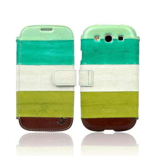 OEM Zenus Samsung Galaxy S3 Prestige EEL Leather Diary Case w/ ID Slots - Multi-Green