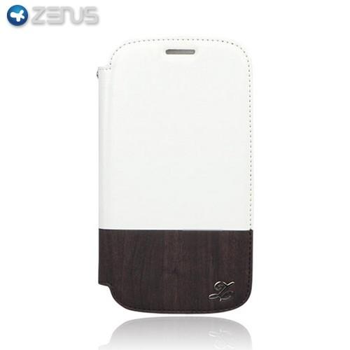 OEM Zenus Samsung Galaxy S3 Masstige Block Leather Oak Wood Diary Case w/ ID Slots - White/ Dark Brown