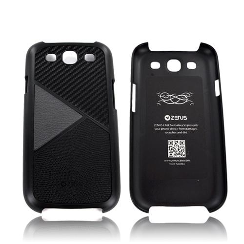 Zenus Samsung Galaxy S3 Skinny Leather on Hard Case - Carbon Fiber/ Gray/ Black