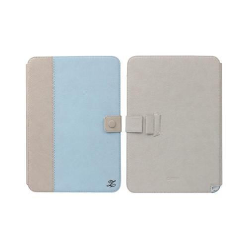 OEM Zenus Samsung Galaxy Note 10.1 Masstige Band Series Leather Stand Case - Baby Blue/ Beige