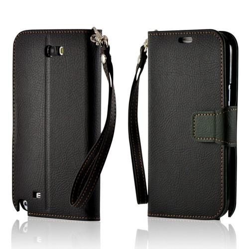 Black/ Olive Green Mount Leather Diary Flip Case w/ ID Slots, Stand & Wriststrap for Samsung Galaxy Note 2