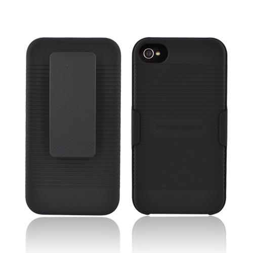 Original PureGear AT&T/ Verizon Apple iPhone 4 Rubberized Hard Case w/ Holster & Kickstand, 88306VRP - Black