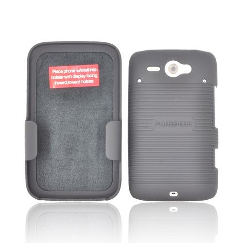 Original PureGear HTC Status Rubberized Hard Shell Case w/ Holster, 88591VRP - Black